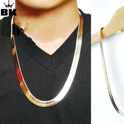 Cadena de oro en espiga de Hip Hop 75*1,1*0,2 cm, collar de cadena en espiga de Color dorado, collar de cadena de alta calidad