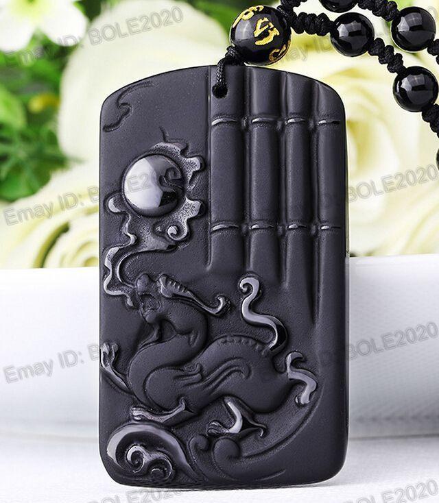 Envío libre 100% natural negro obsidiana mano tallada dragón Sol afortunado amuleto colgante collar