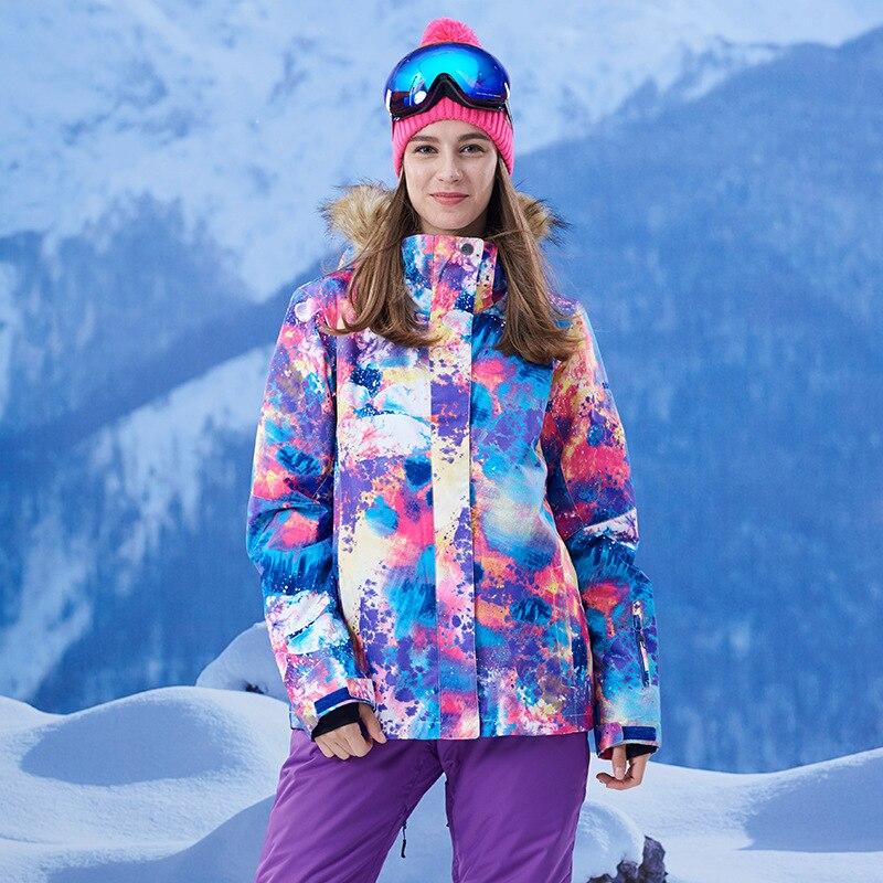 GSOU SNOW Winter Women's Color camouflage Ski Jacket Skiing Suit Waterproof windproof keep warm Outdoor Camping Snowboard coat