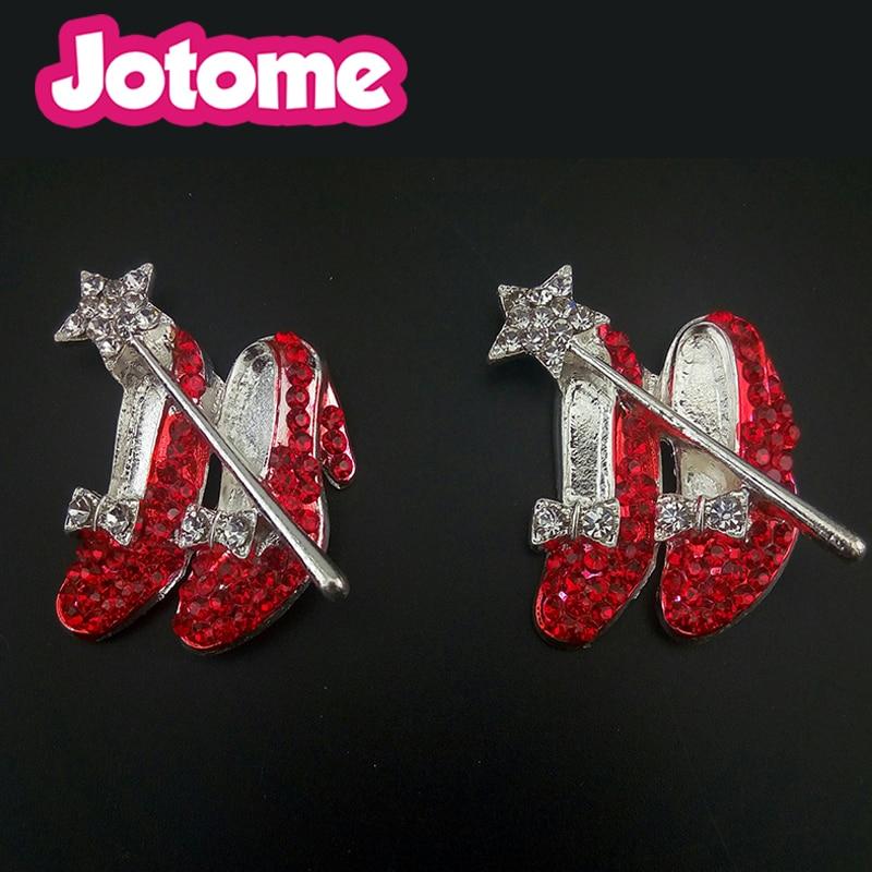 50/100pcs gold/silver tone Womens Red High-heeled shoe Brooch Pin Crystals Rhinestone pin