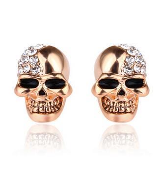Tachuelas de cráneo viejo y cráneo lleno de oreja uña personalidad pendientes mujeres joyería gema/Piedra/coral/ópalo marcasita