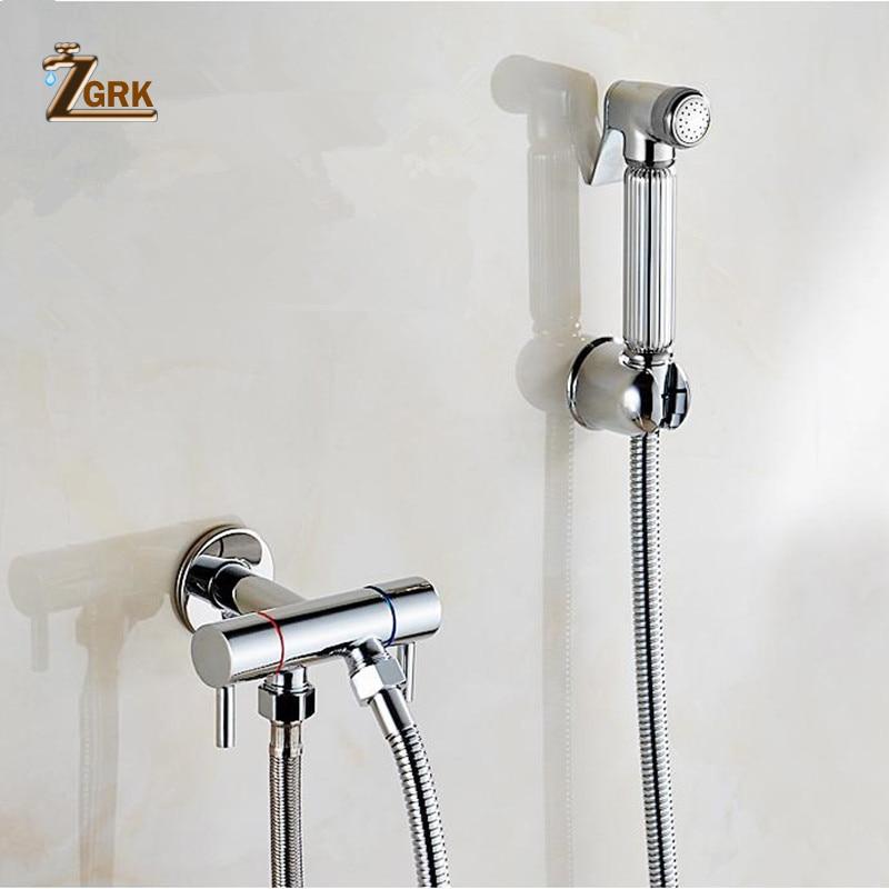 ZGRK النحاس بيديت دش فقط الباردة دش المياه خلاط مع خرطوم يده رذاذ بيديه للمرحاض الكروم الذهب جدار خلاط الكلاسيكية