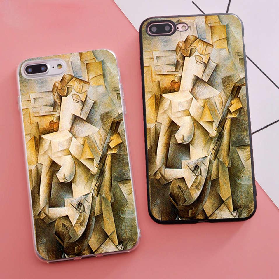 Coque chica con mandolina Pablo Picasso estuche para teléfono suave para iPhone X 5S XR XS Max SE 6 6 S 6 6s 7 7 Plus Fundas tapa