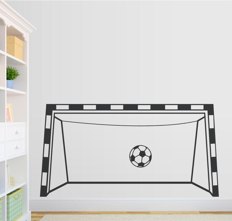 Creativa pegatina de pared de portería de fútbol, vinilo decorativo para sala de juegos, pegatinas de pared personalizadas de colores, Calcomanías disponibles para decoración de sala de estar ZA686