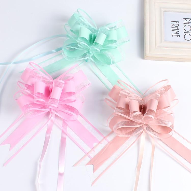 20 pçs grande bonito aniversário puxar arco fita para presente embalagem festa de casamento porta do carro lidar com decorações presente de natal embrulho