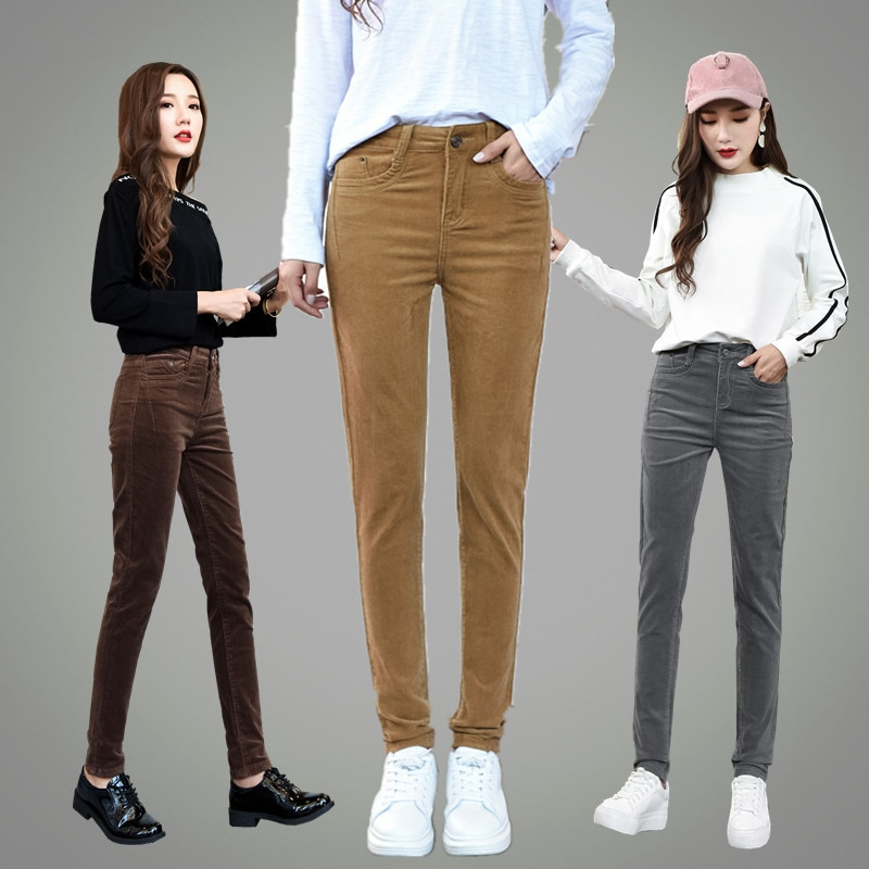 Skinny corduroy pants capris for women with high waist OL office pleated vintage pencil pants female