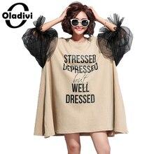 Oladivi surdimensionné robe de grande taille femmes lettre imprimé coton robes grande taille à la mode dame décontracté chemise haute tunique Vestidios