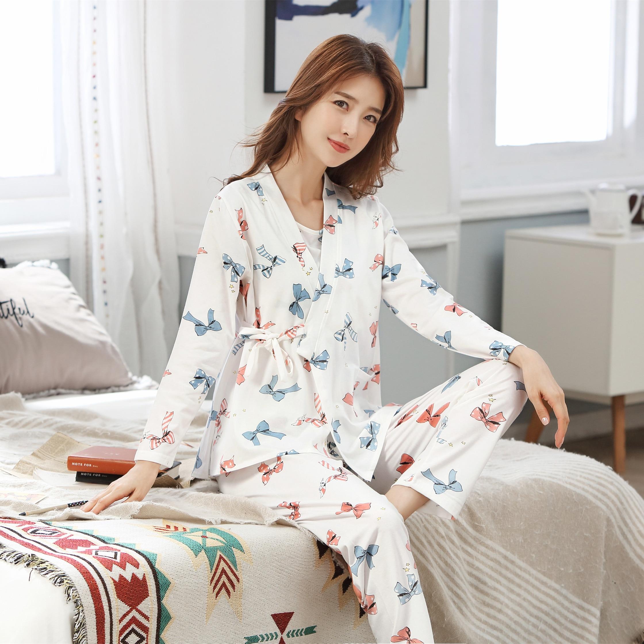 3 PCs/Set Printed Maternity Nursing Sleepwear Breastfeeding Nightwear for Pregnant Women Pregnancy B