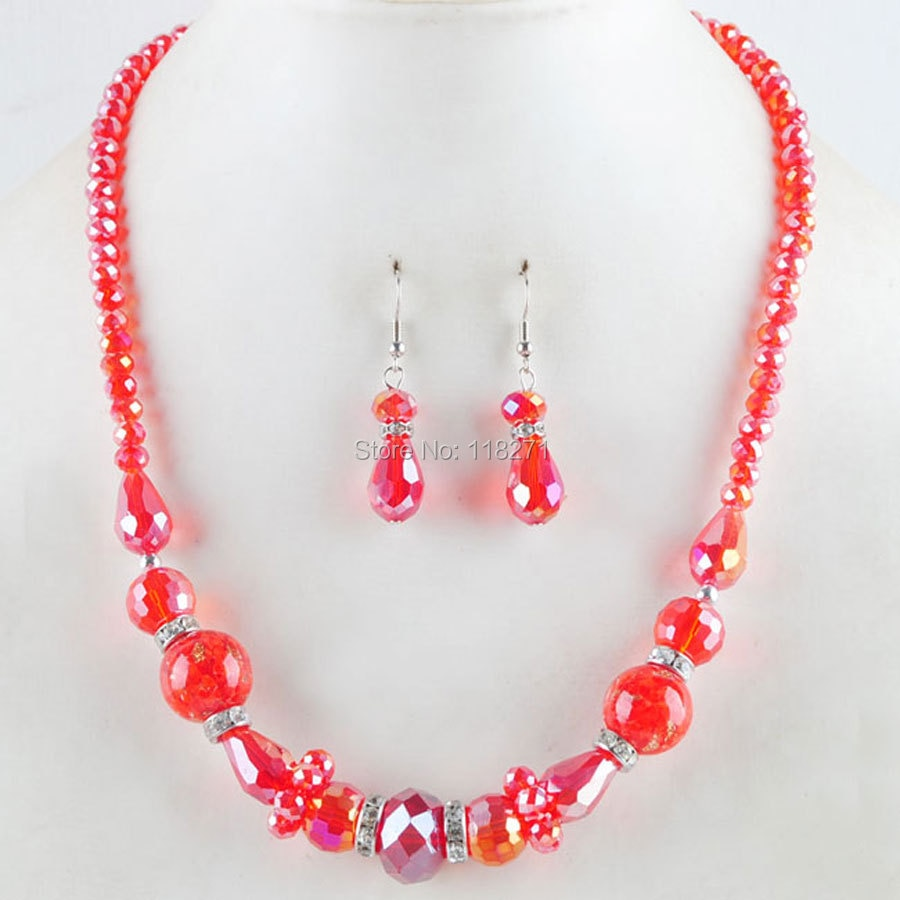 WOJIAER, Envío Gratis, cristal dicroico rojo redondo, facetadas collar de cuentas, pendientes, encanto PM3078