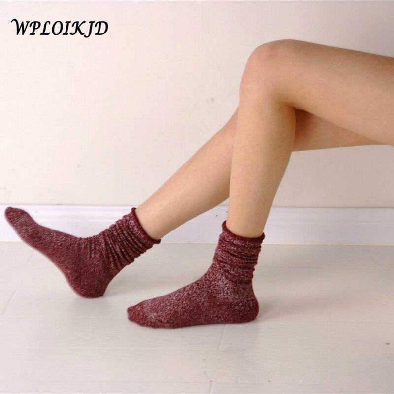 [WPLOIKJD] Engraçado Brilhante Glitter Meias Calcetines Mujer do Montão de Borda Elegante Longo Doce Cor Meias de Algodão Mulheres Felizes meias