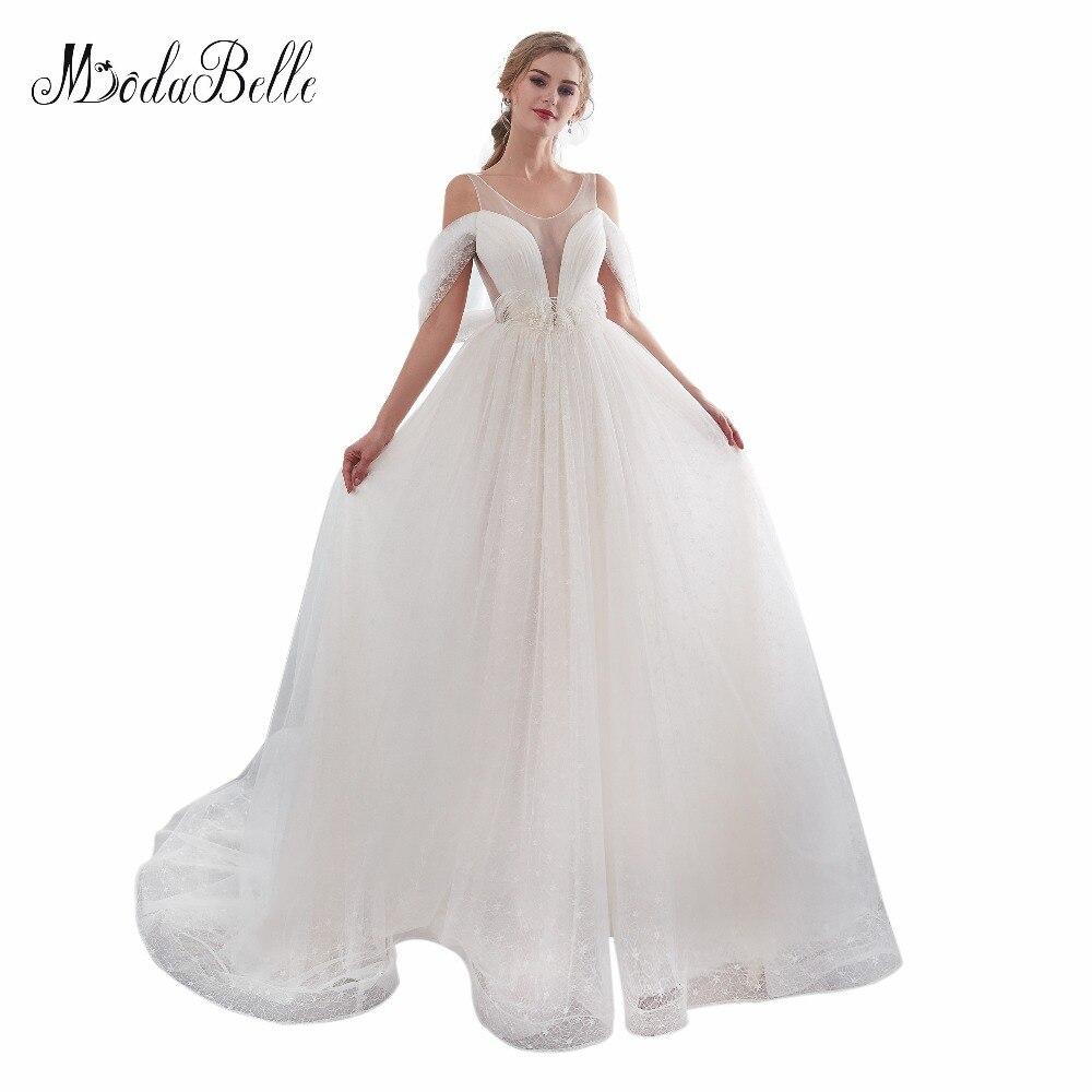 Modabelle barato Blanco/Marfil Scoop vestido de boda Strand Organza Lace Backless vestidos de novia bata Mariee Blanche