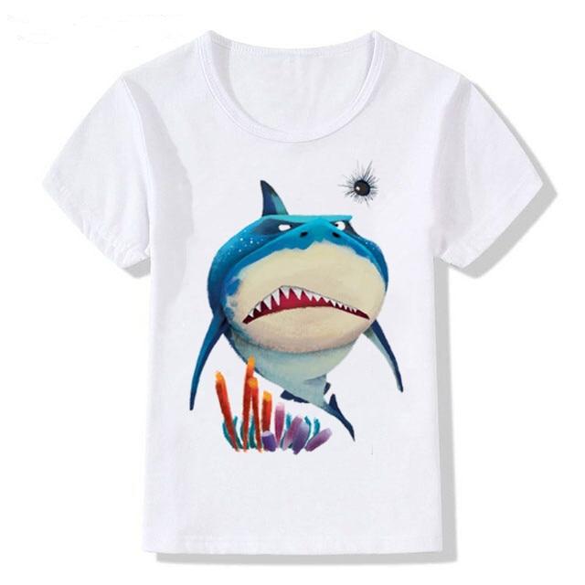 Nueva camiseta divertida con estampado de tiburón para niños y niñas para 1-12Y camisetas niña de verano con capucha KT-1964