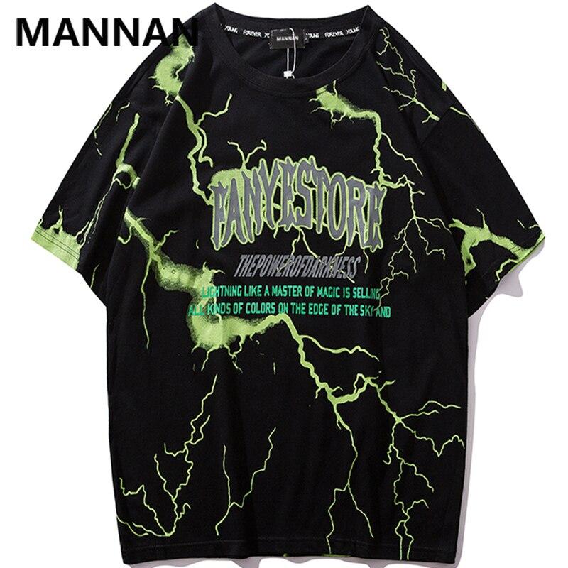 MANNAN 2019 camiseta para hombre Hip Hop Dark camiseta de rayo Streetwear verano algodón Harajuku camisetas de manga corta Casual Tops camisetas
