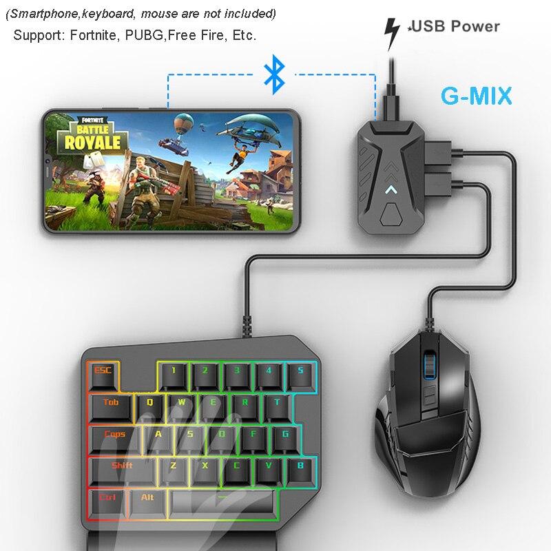 Conversor de ratón para teclado g-mix PUBG, Adaptador convertidor para juegos y controladores móviles para teléfonos inteligentes IOS / Android