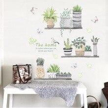 Vert en pot plante Stickers muraux enfants chambre cuisine décor vinyle amovible papier peint autocollants Art peintures murales dc8