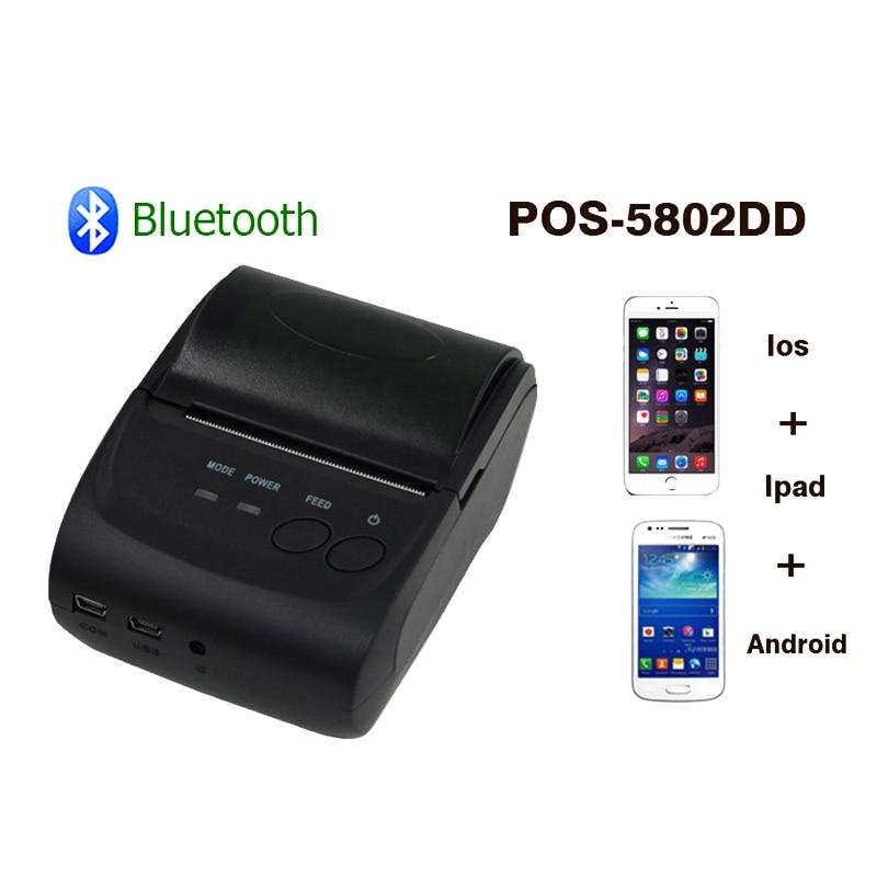 Zjiang 58mm handheld impressora térmica POS-5802 portátil usb bluetooth sem fio impressora de recibos térmica para janela ios android