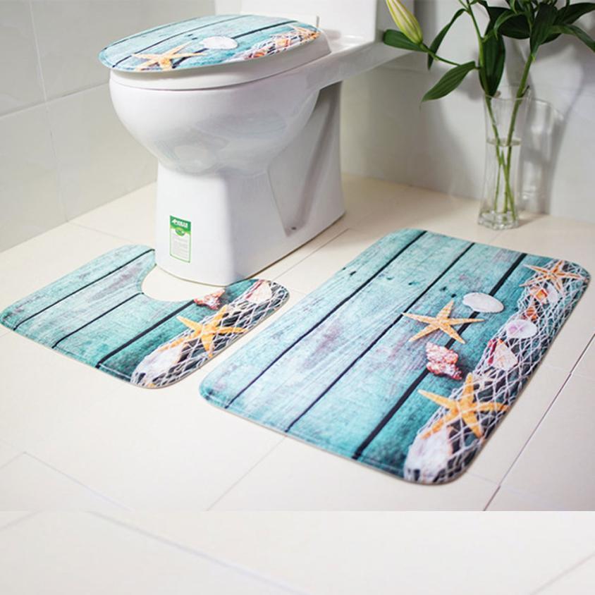 3 шт./компл. Противоскользящий коврик для ванной комнаты с природным морским пейзажем в синем океаническом стиле с крышкой для туалета коврик для ванной A30 30 +