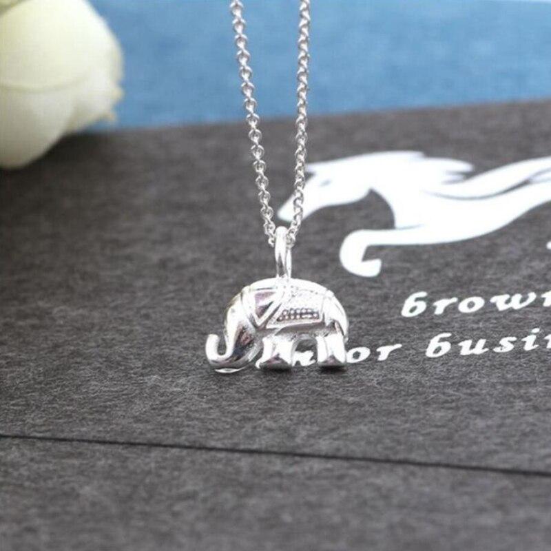 Única memória bonito mini animal tailândia elefante pingente simples 925 prata esterlina clavícula corrente colar feminino sne383