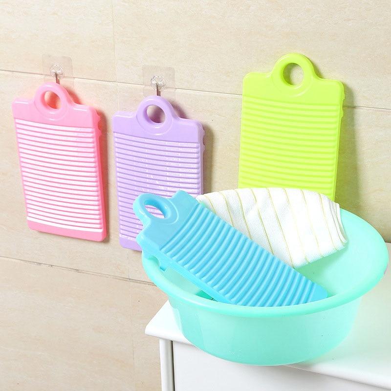 1 tabla de lavar de plástico antideslizante gruesa Tabla de lavar Limpieza de ropa para lavandería Color al azar al por mayor