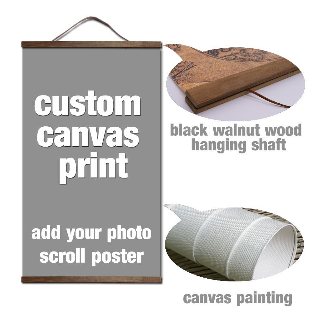 Tu foto favorita de la familia boda lienzo póster de pared personalizada DIY arte con madera maciza colgando rollos