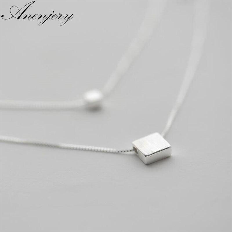 Anenjery 925 пробы Серебряная Двойная Цепочка Слои квадрат простой Цепочки и ожерелья для Для женщин колье S-N194