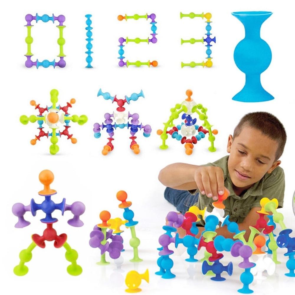 50 Uds./100 Uds. DIY juguete de bloques de construcción de silicona ventosa ensamblada ventosa divertida juguetes educativos para niños regalos de navidad