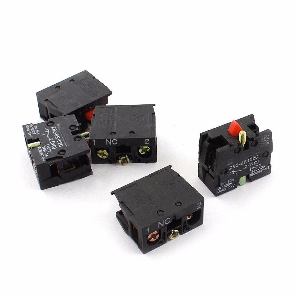 5 Pcs AC600V 10A XB2-BE102C NC Momentary botão Mudar Bloco de Contato Auxiliar