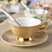 Европейская Золотая Роскошная костяная китайская чайная чашка с блюдцем, набор ложек, 200 мл, Благородная керамическая кофейная чашка для вечеринки, чашка из фарфора