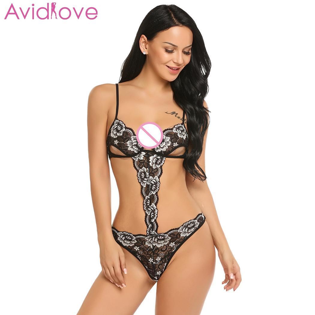 Pijama de una pieza de Avidlove para mujer, lencería Sexy transparente con encaje y sujetador, Babydoll abierto