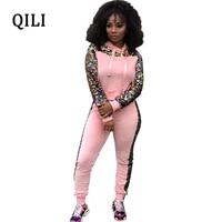 qili winter hot jumpsuits women hoodies long sleeve sequin patchwork jumpsuit 2 piece set velvet warm jumpsuits s xxl