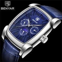 BENYAR hommes montres Top marque luxe chronographe hommes montre en cuir luxe étanche Sport montre hommes homme horloge homme montre-bracelet