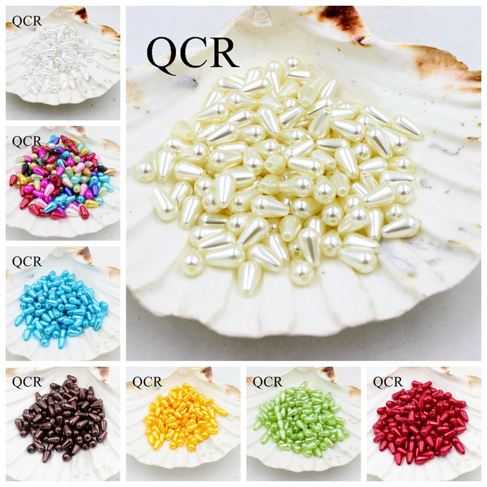 New 6*10mm 500Pcs/Lot Multi ABS Double Hole Tear Drop Beads Imitation Pearls Beads For Diy Jewelry Making Indian Beads