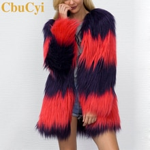 CbuCyi hiver manteaux femmes longue fausse fourrure manteau col en v décontracté femme Patchwork fourrure vestes manteaux grande taille S-3XL 2 couleurs
