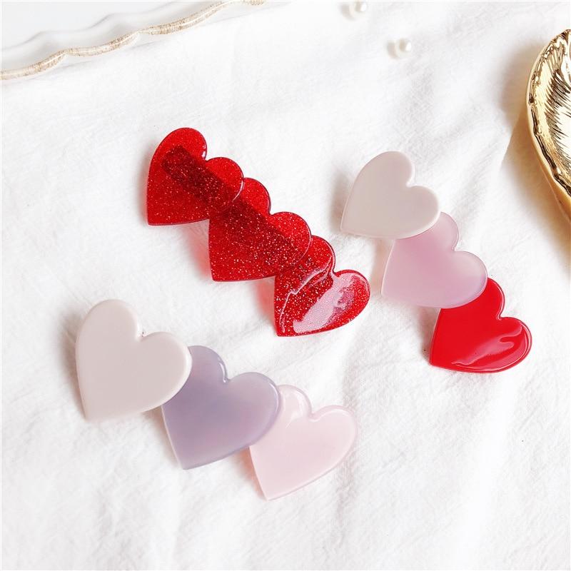 Women Elegant Fashion Pink love Hair Clip Headdress Acetic acid heart shape Spring Clip Hairpin Headwear Hari Accessories