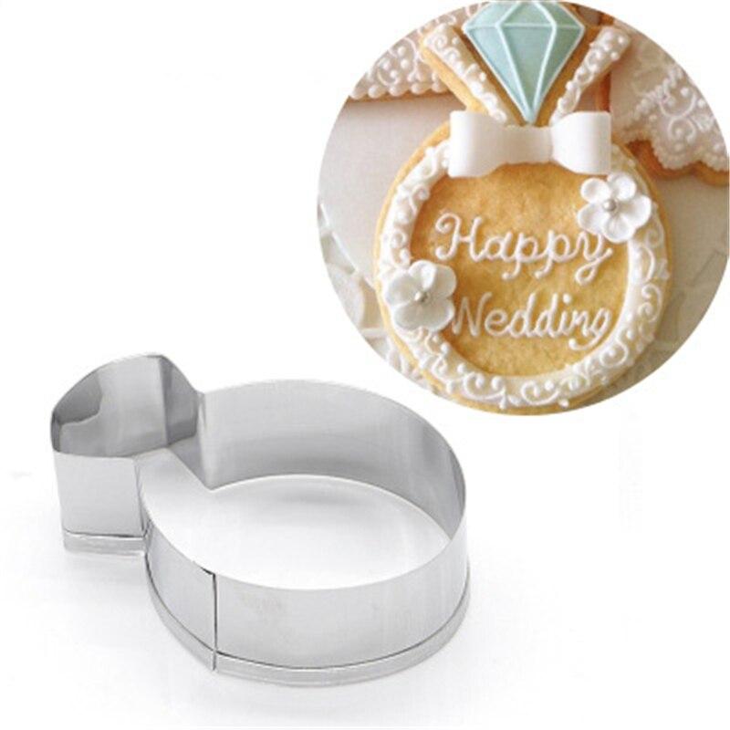 Accesorios de cocina para galletas de Nuevo cortador, anillo de diamante de acero inoxidable para fiestas, nuevas herramientas de horneado, molde para galletas para damas, sello de galletas para boda