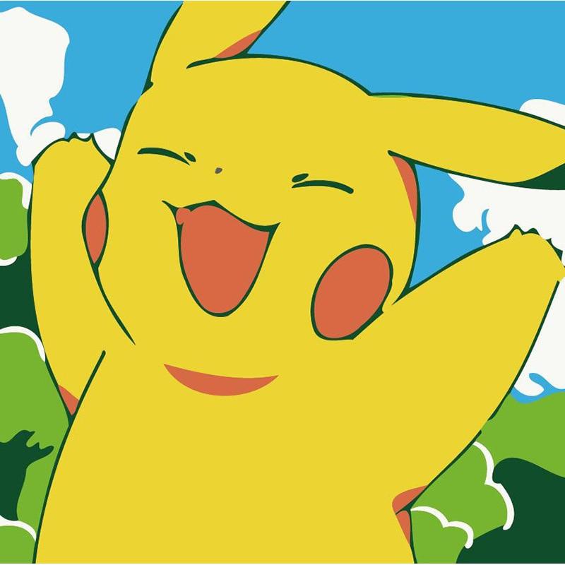 Pintura por números, dibujos animados para niños, Pikachu Superman, pinturas de Anime por números con pinturas acrílicas, cuadros de pared para sala de estar