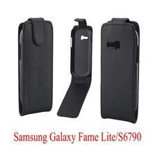 Coque étuis de téléphone en cuir PU Housse de protection Pour Samsung Galaxy Fame Lite 6790 S6790 Téléphone Sacs Vertical Haut/Bas Ouvert peau pochette