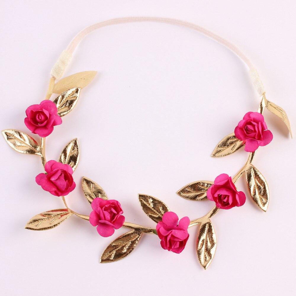 Венок с цветами из розового и золотого цветов, венок с цветами для девочек, аксессуары для волос