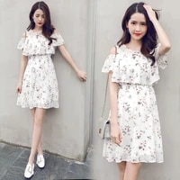 2018 summer clothes for kids girl floral chiffon dresses teenage 15 17 years white adolescent children clothing dress for girls