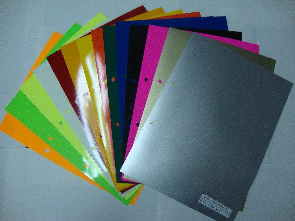 (A4*14 uds) 14 diferentes colores cada Color 1 pieza PU Flex papel de vinilo PU Transferencia de Calor vinilo Cuttable PU película para deporte camiseta