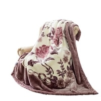 soft warm raschel mink blanket double layer thick fluffy chunky fleece throw twin queen size faux fur printed blanket for winter