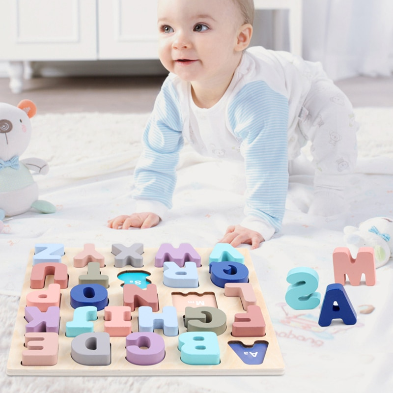 logwood baby wooden toys wooden block 26pcs learning educational toys for children animal words letter learn gifts for baby 30*30CM Baby Puzzles Wooden Toys Alphabet Digital Board Wooden Puzzles Kid Early Learning Educational Toys For Children gifts