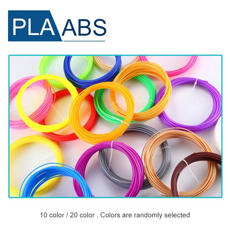 Gorąca sprzedaż 20 kolorów lub 10 kolorów/zestaw 3D włókno długopisowe ABS/PLA 1.75mm plastikowy materiał do drukowania gumy do 3D pióro do drukarki włókno długopisowe