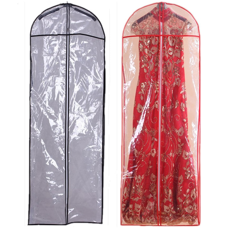 Length 150cm PVC Hot Sale Cheap For Wedding Dress Bag Clothes Dust Cover Garment Bags Bridal Gown Bag Evening Dress Cover M0836