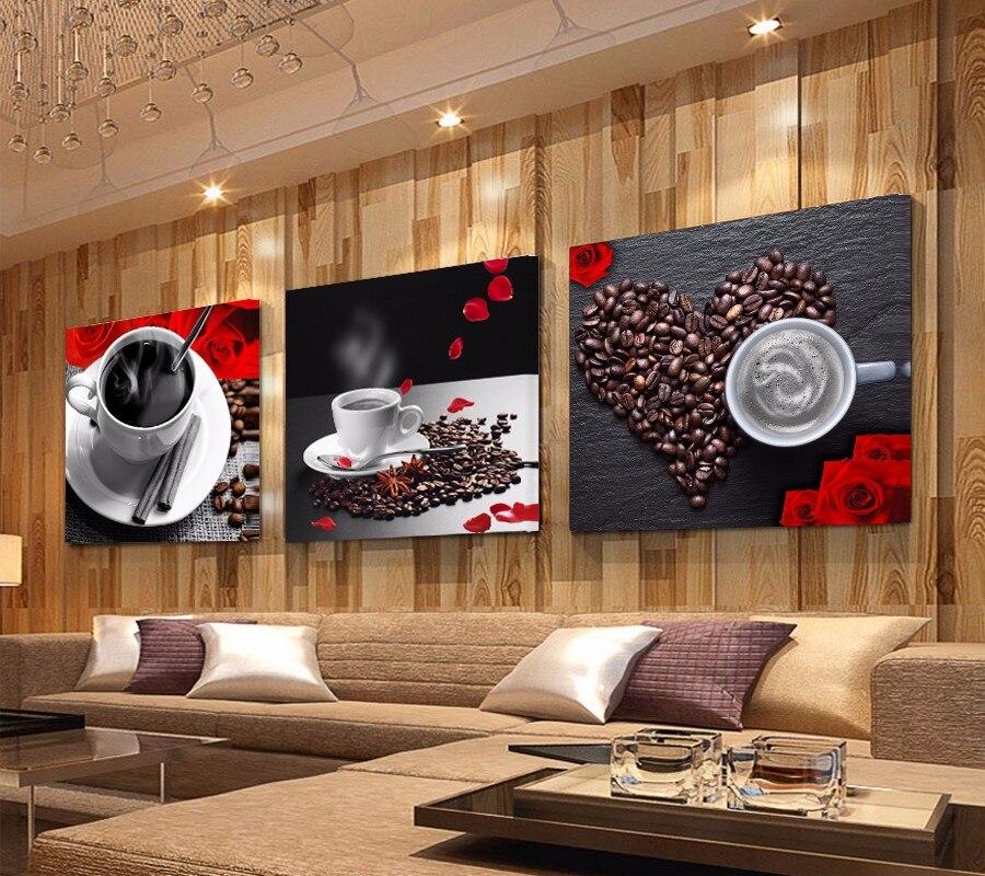 3 Панели Печать Кофейная чашка винтажная Картина на холсте настенные картины для кухни Кофейня Декор на стену Картина на холсте Печать