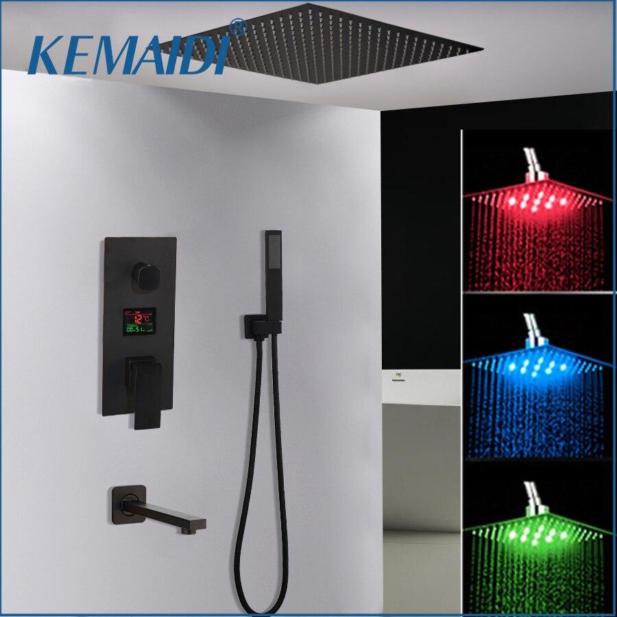 رأس الدش من KEMAIDI أسود نحاسي LED صنابير خلاط عرض رقمي حنفية الدش والحمام مجموعة حنفيات الدش الرقمية 3 وظائف