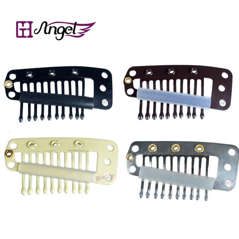 Los ángeles de Charlie 100 Uds 36mm 10-del pelo de los dientes a presión de Metal Clips de silicona peine para pelucas Clips pinza de pelo en extensiones de cabello herramientas