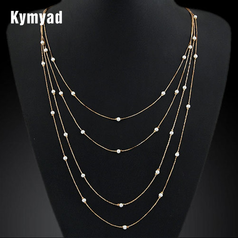 Kymyad simüle inci çok katmanlı kolye uzun altın zincir Vintage Colares kolye kadınlar için bijoux collier femme collares