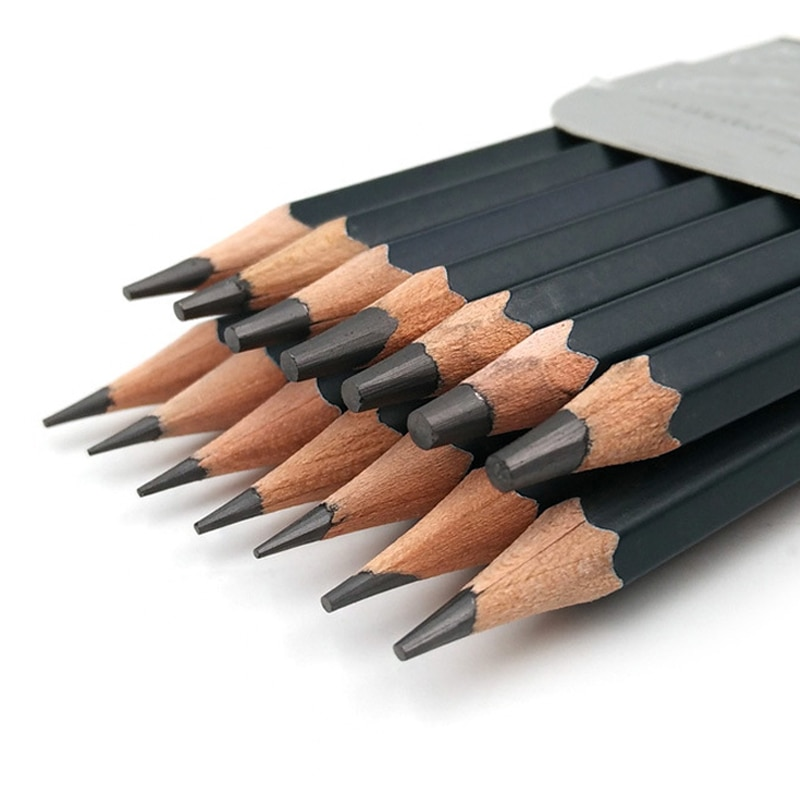 14 pcs/set Professional Sketch Drawing Pencil Set HB 2B 6H 4H 2H 3B 4B 5B 6B 10B 12B 1B Painting Pen