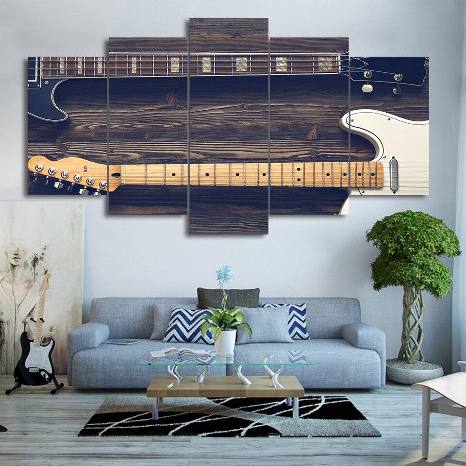 Модульный постер для рисования на стену, 5 панелей, винтажная музыкальная рамка с HD принтом, современный парусиновый Декор для гостиной и до...